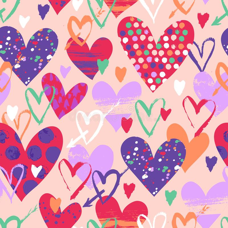 Vector seamless pattern with hand drawn hearts royalty free illustration