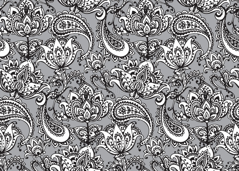 Henna Mehndi Vector Free Download : Vector seamless pattern with hand drawn henna design elements
