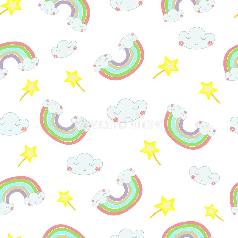 Vector seamless pattern Hand drawn illustration of a rainbow out of the clouds royalty free illustration