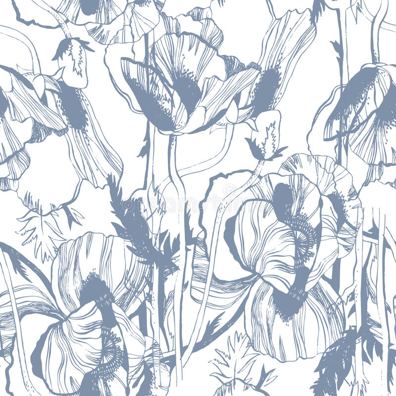Vector seamless pattern with hand-drawn ink flowers stock illustration