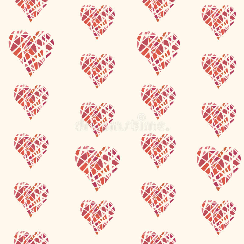 Vector seamless pattern with hand drawn red hearts vector illustration