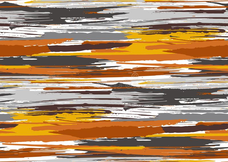 Vector seamless pattern with hand drawn rough edges textured brush strokes and stripes hand painted. royalty free stock images