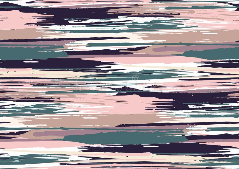 Vector seamless pattern with hand drawn rough edges textured brush strokes and stripes hand painted. stock images