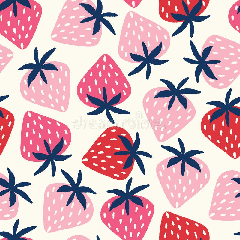Vector seamless pattern with hand-drawn strawberries in pink and red on an off white background royalty free illustration