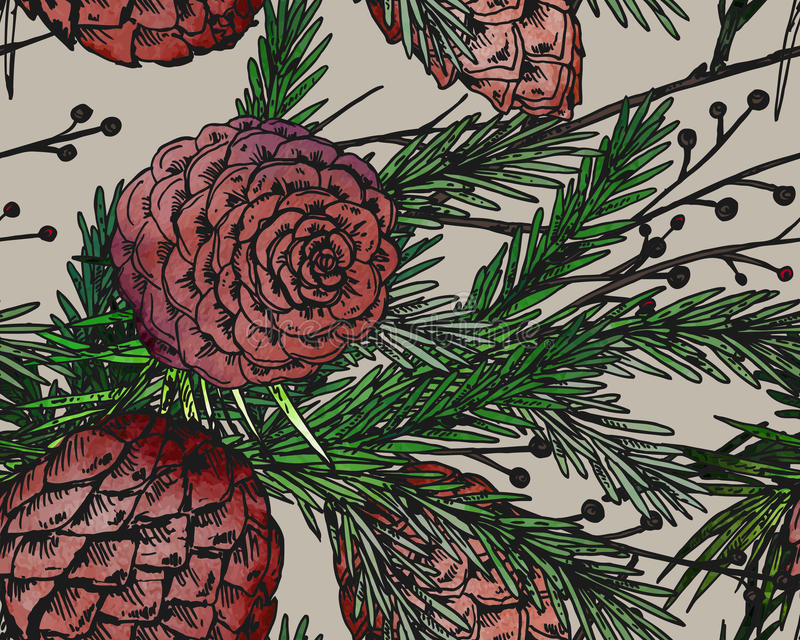 Vector seamless pattern with hand drawn winter plants stock illustration