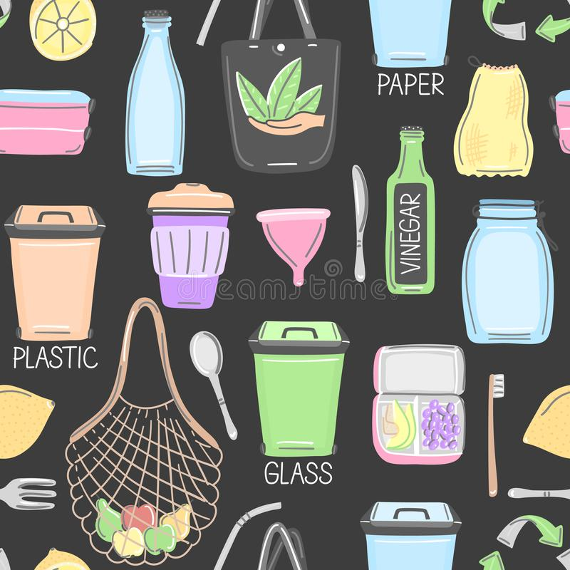 Vector seamless pattern with hand drawn zero waste objects. Eco lifestyle. Care of nature. Save planet. Go green. Repeating background. Wallpaper, textile royalty free illustration