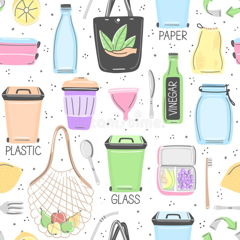 Vector seamless pattern with hand drawn zero waste objects. Eco lifestyle. Care of nature. Save planet. Go green. Repeating background. Wallpaper, textile vector illustration
