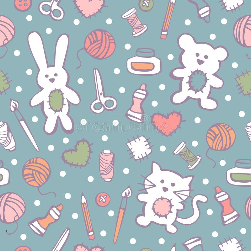 Vector seamless pattern with hand made toys and tools vector illustration