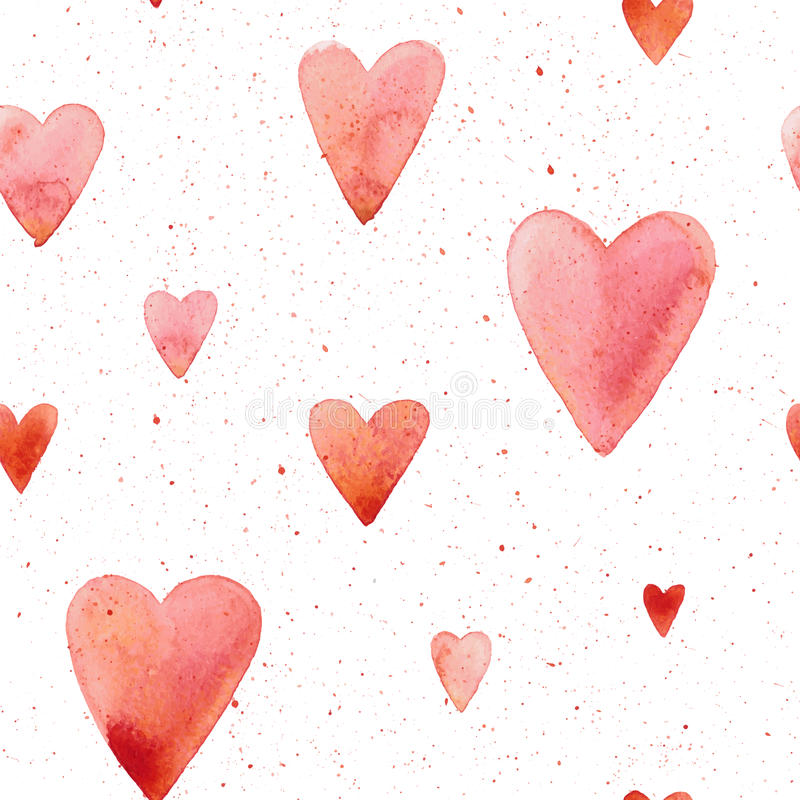 Vector seamless pattern with hand painted watercolor hearts. stock illustration