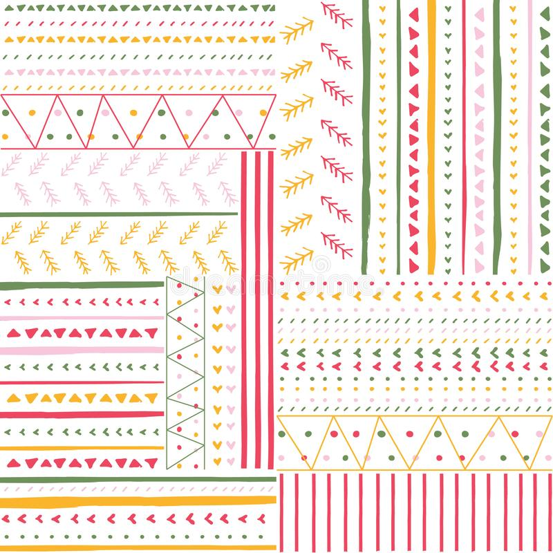 Vector seamless pattern with handdrawn stripes and triangles . Hand drawn pink, green and yellow stripes and triangles vector illustration