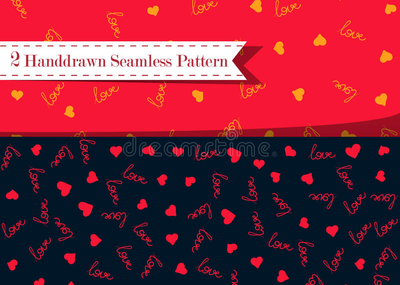 Vector seamless pattern with handwritten Love word and hearts. Romantic design, perfect for Valentine s day prints and vector illustration