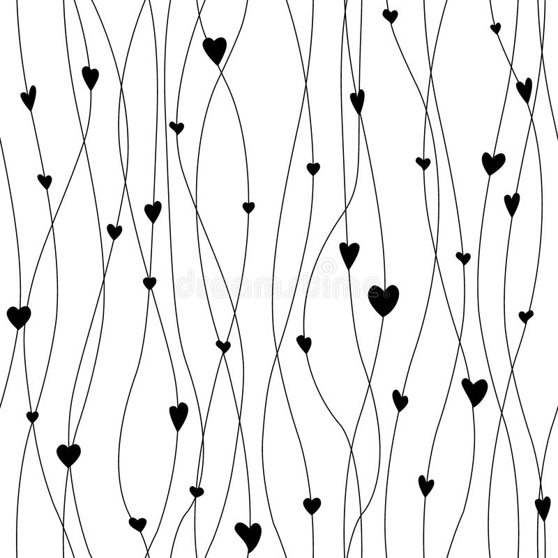 Vector seamless pattern with hanging heart garlands. Threads and hearts. Cute wrapping paper background. Black and white royalty free illustration