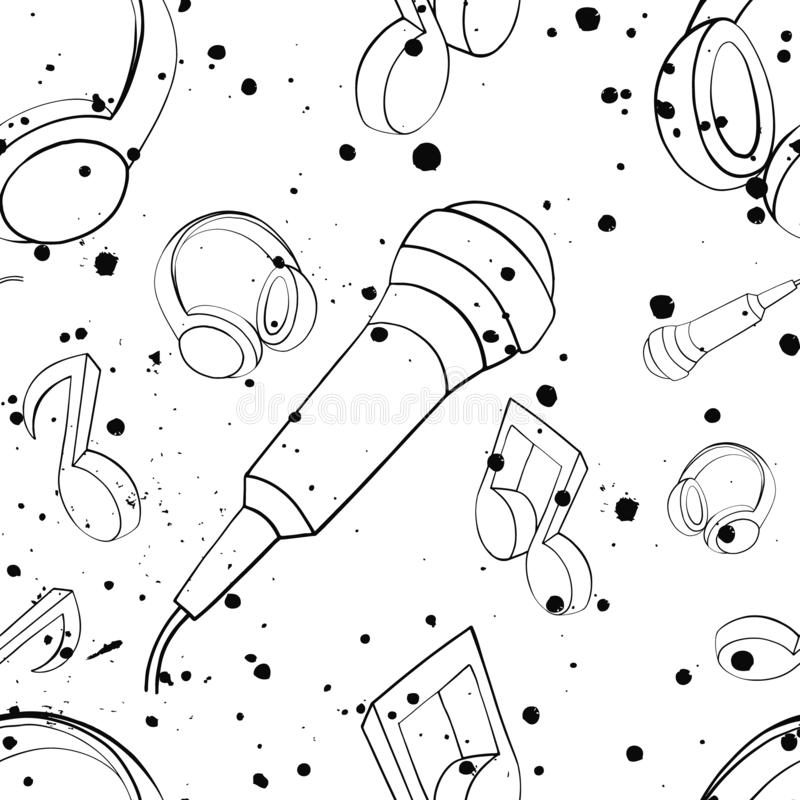 Vector seamless pattern with headphones, microphones,notes, inc splash, blots, smudge and brush strokes Black and white grunge. Template for web background stock illustration