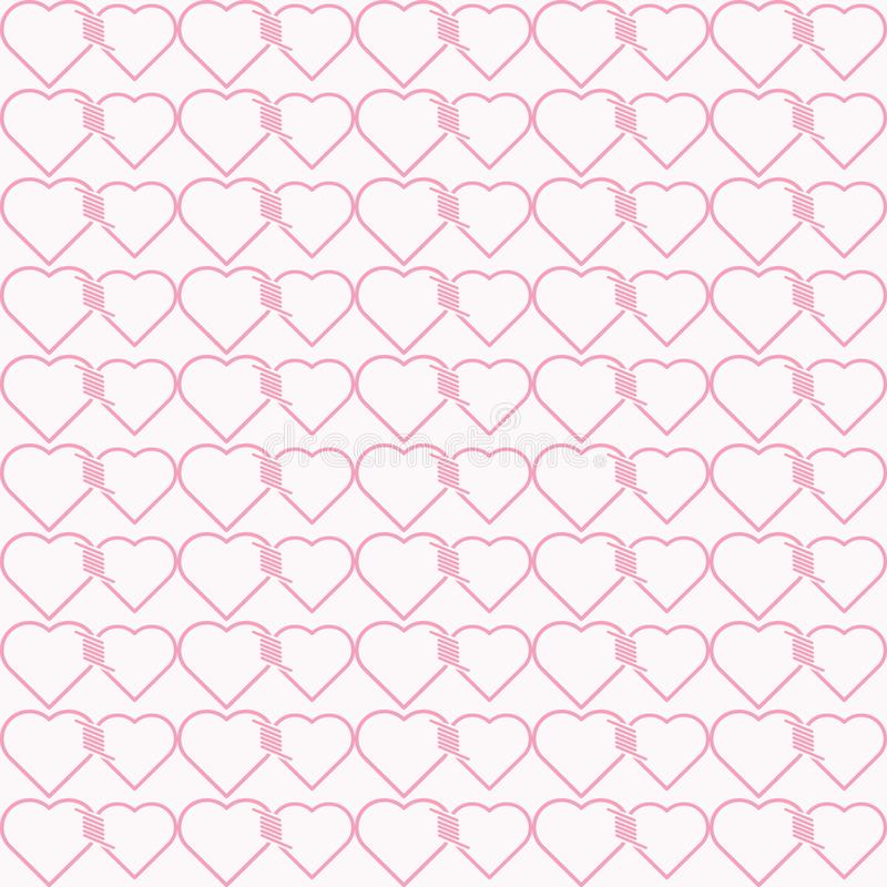 Vector seamless pattern of heart tied together vector illustration