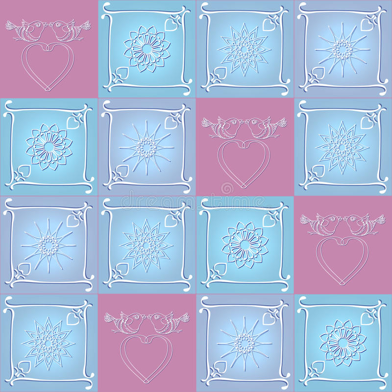 Vector seamless pattern with hearts, birds stars. Vector seamless pattern with hand-sketched hearts, birds stars and frames vector illustration