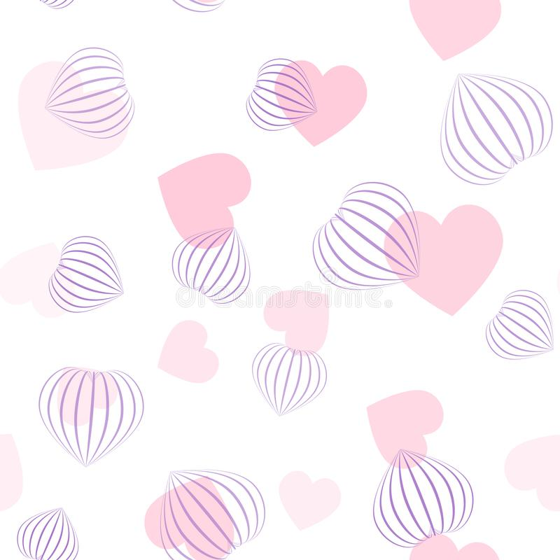 Vector seamless pattern with hearts. Flat and 3d pink hearts. 3d hearts made from stripes. vector illustration