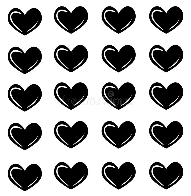 Vector seamless pattern with hearts. Heart print. Fashion texture royalty free illustration