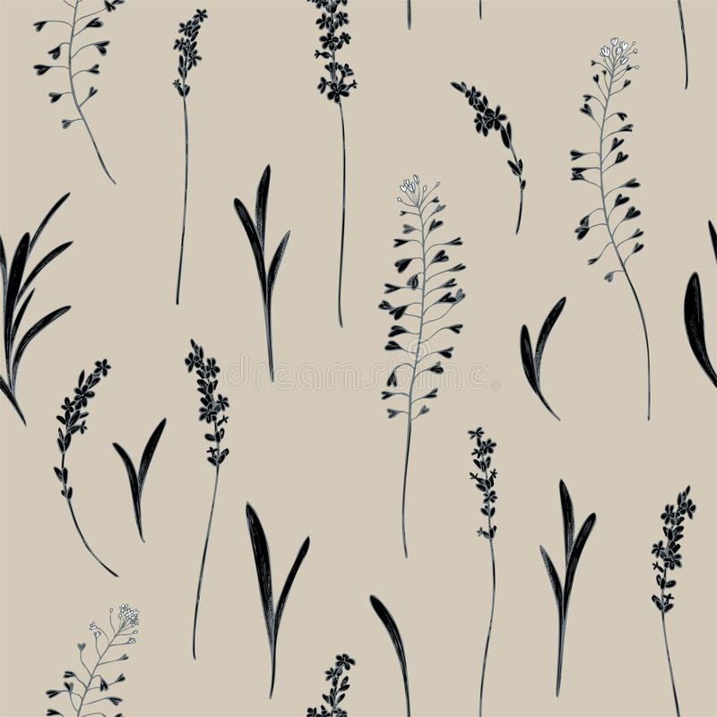 Vector seamless pattern of heather and shepherd purse. Hand drawn vector illustration vector illustration
