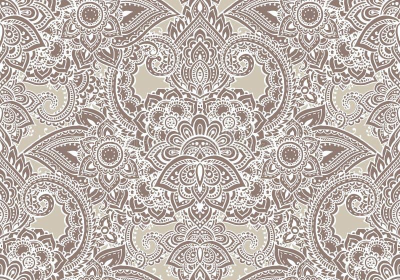 Henna Mehndi Vector : Vector seamless pattern with henna mehndi floral elements. stock