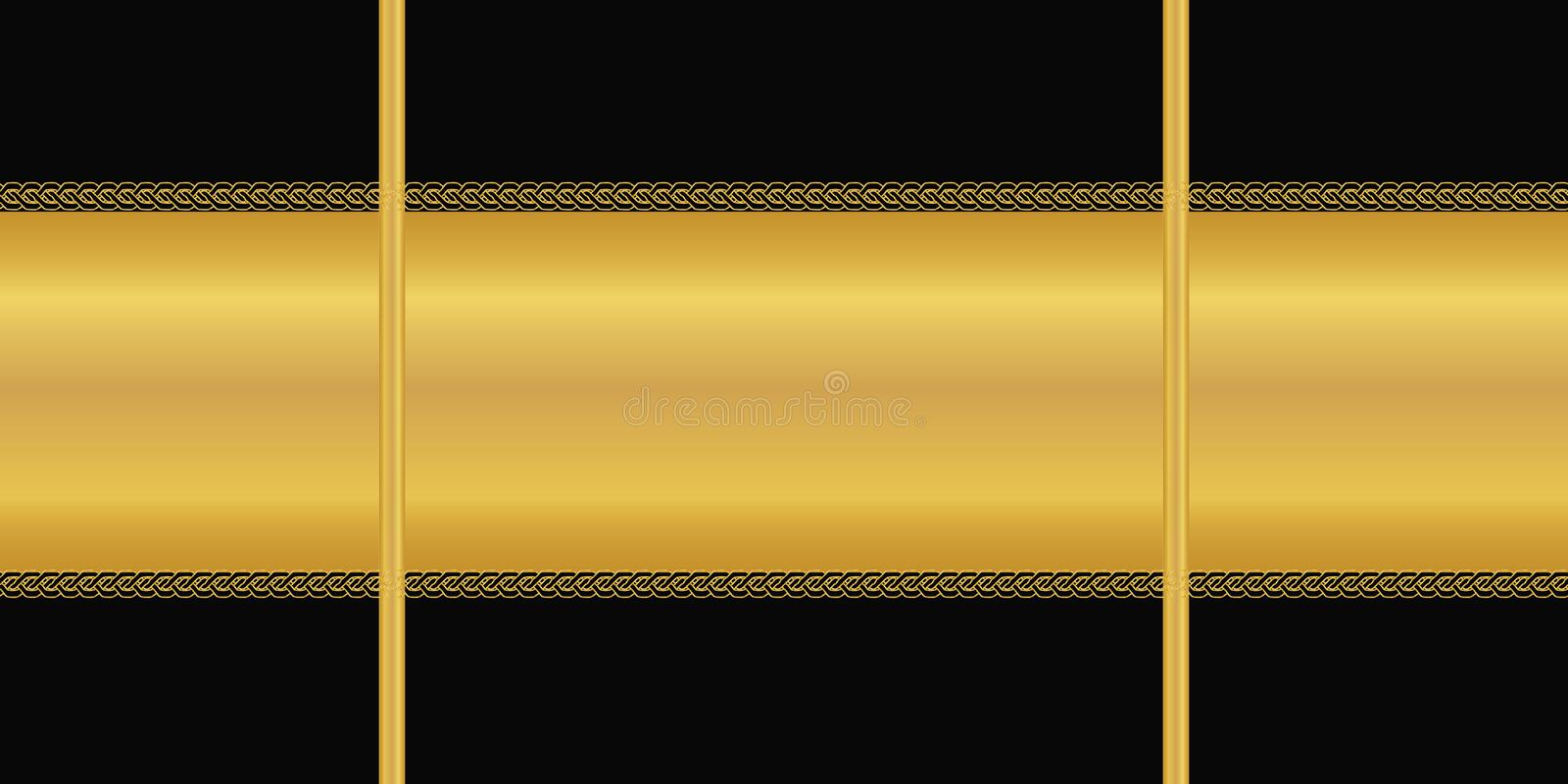 Vector seamless pattern. Horizontal golden stripe, Art deco ornament on black background. Wallpaper, wrapping paper, textile print royalty free illustration