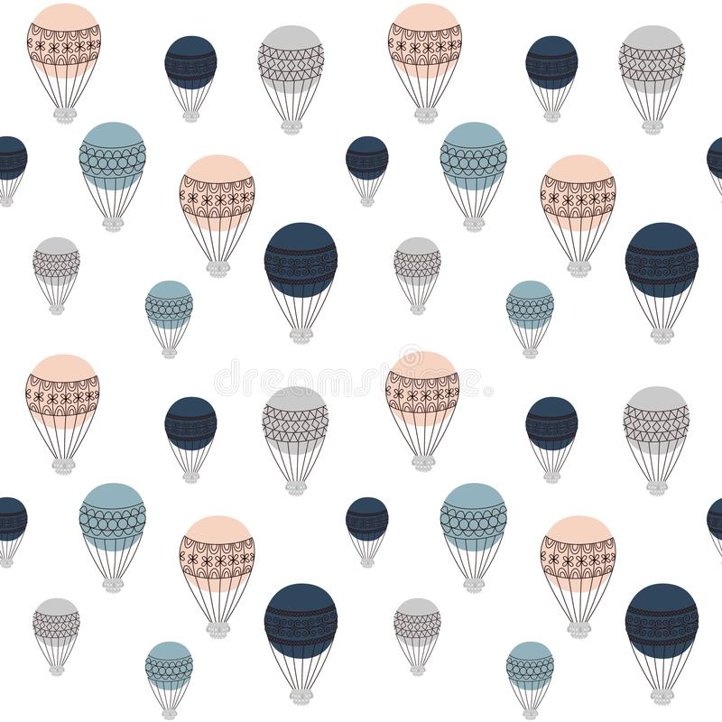 Retro air balloons seamless pattern, colorful vector illustration, ready to use design for different surfaces, fabric vector illustration