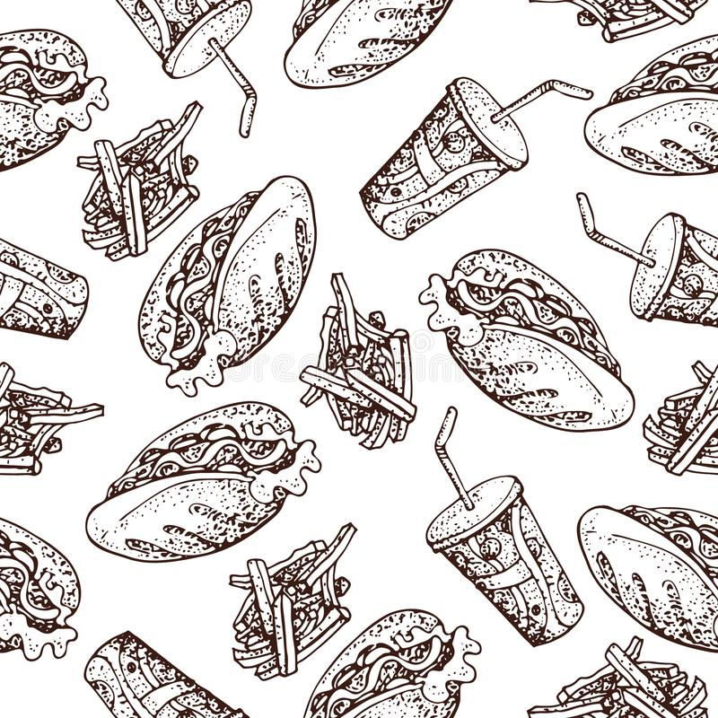Vector seamless pattern of hot dog, french fries and soda drink . Fast food doodle background. royalty free illustration