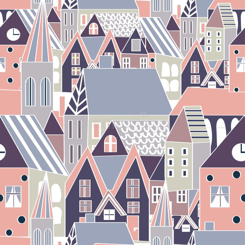 Vector seamless pattern with houses, cartoon hand drawn city background for funny design stock illustration