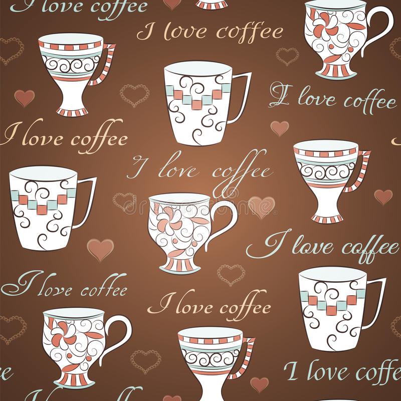 Vector seamless pattern with I love coffee royalty free illustration