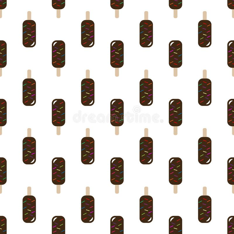 Vector seamless pattern of ice cream. Ice cream with chocolate. Popsicle on a stick royalty free illustration