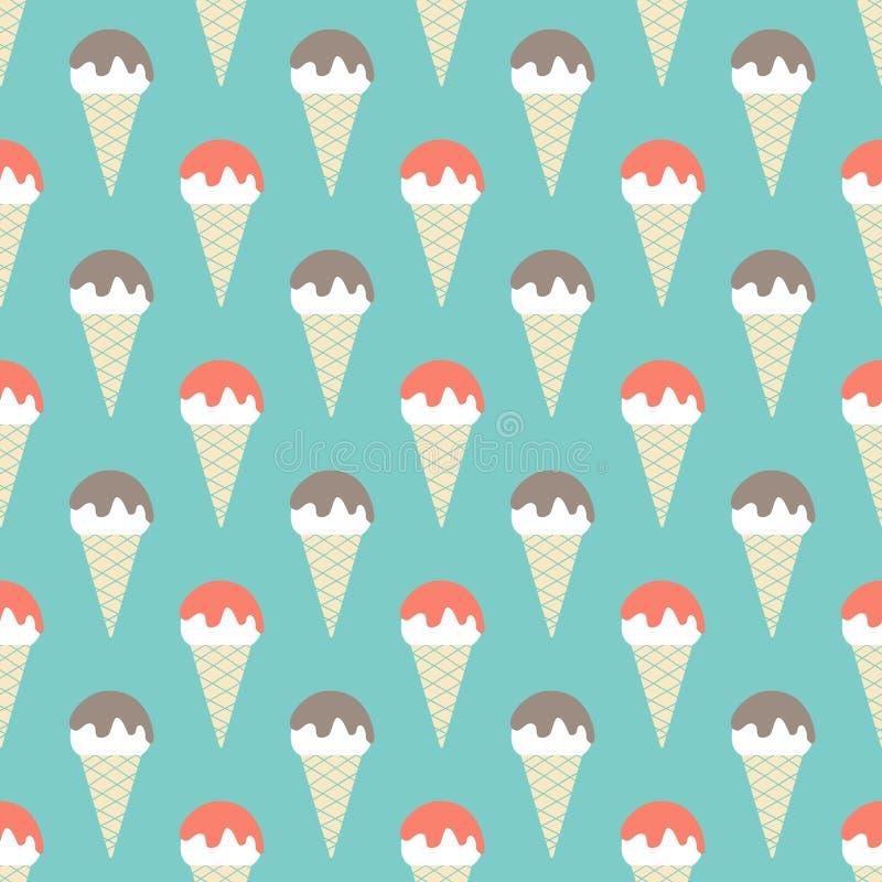 vector seamless pattern with ice-cream stock illustration