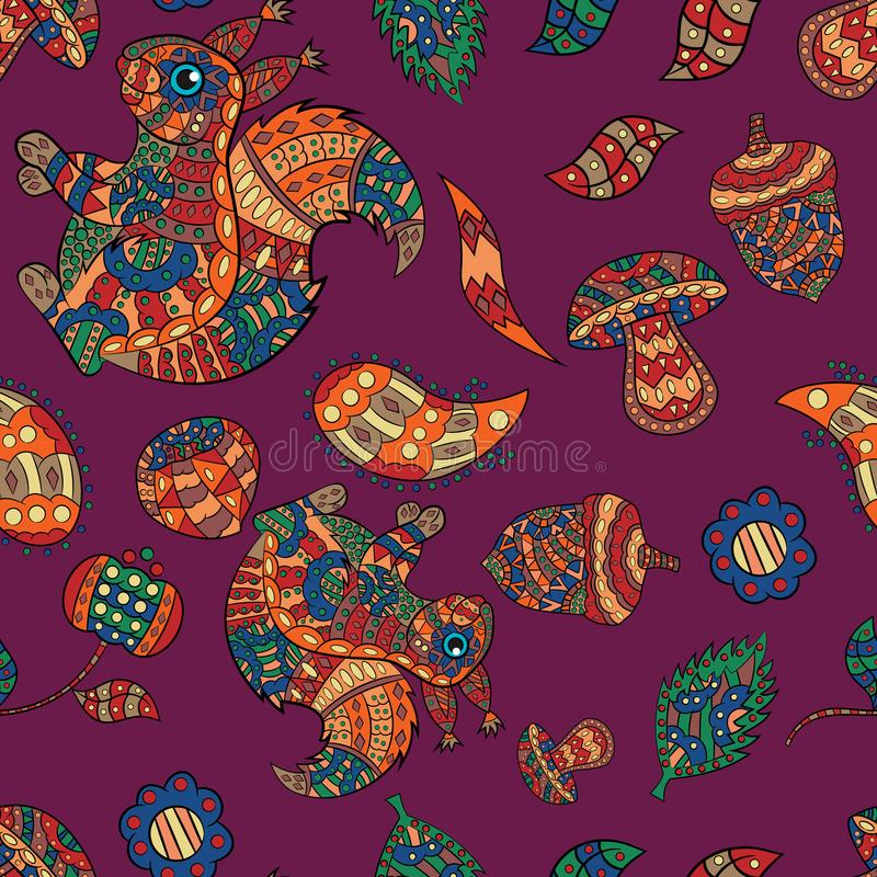 seamless pattern illustration of animal and plant ornament rodent, squirrel, and plant vector illustration