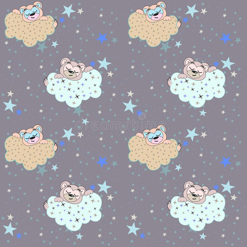 Vector seamless pattern with an illustration of a sleeping bear, clouds and stars. royalty free illustration