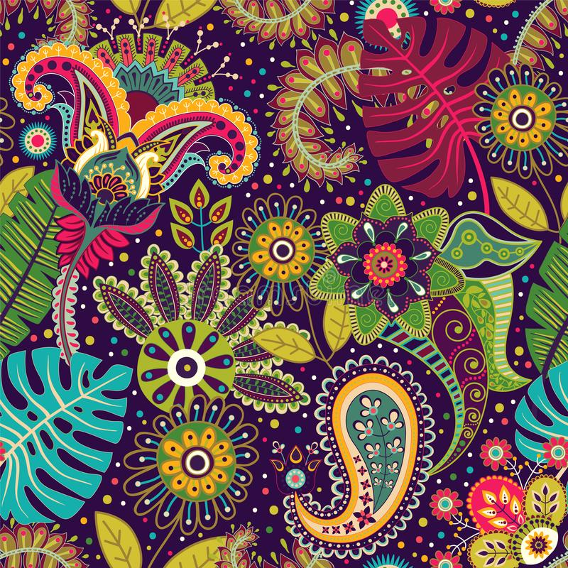 Vector seamless pattern. Indian floral backdrop. Paisley. Fashion style. Design for fabric stock illustration
