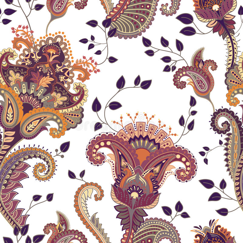 Vector seamless pattern. Indian floral backdrop. Paisley. Fashion style. Design for fabric royalty free illustration