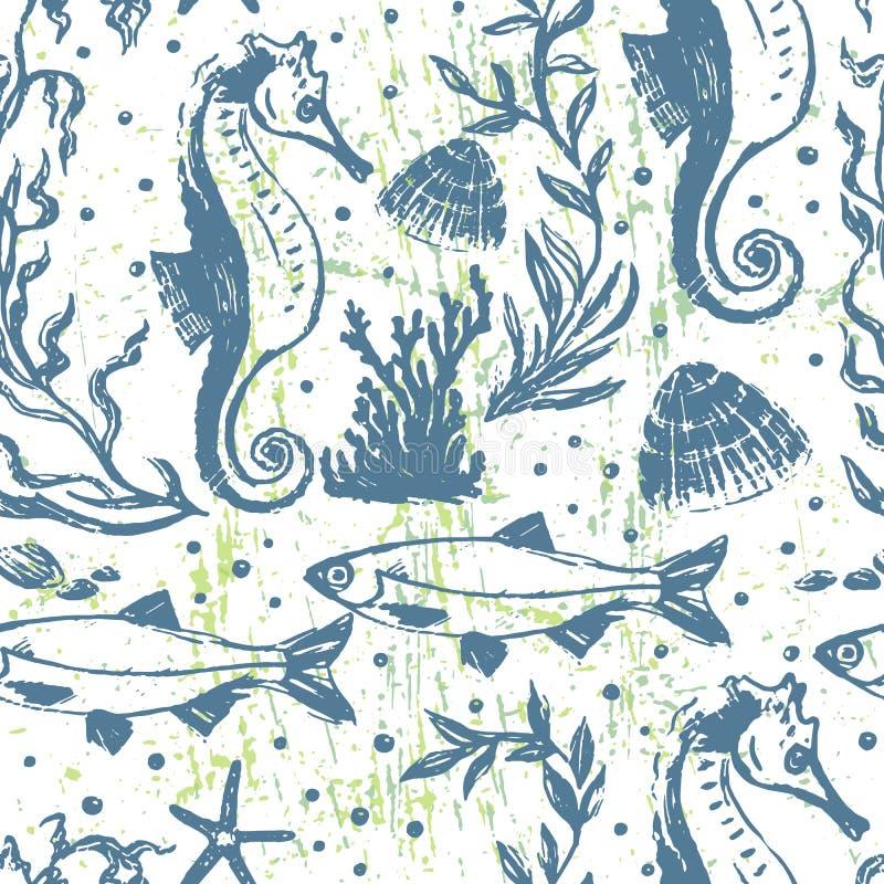 Ink hand drawn marine world seamless pattern stock illustration