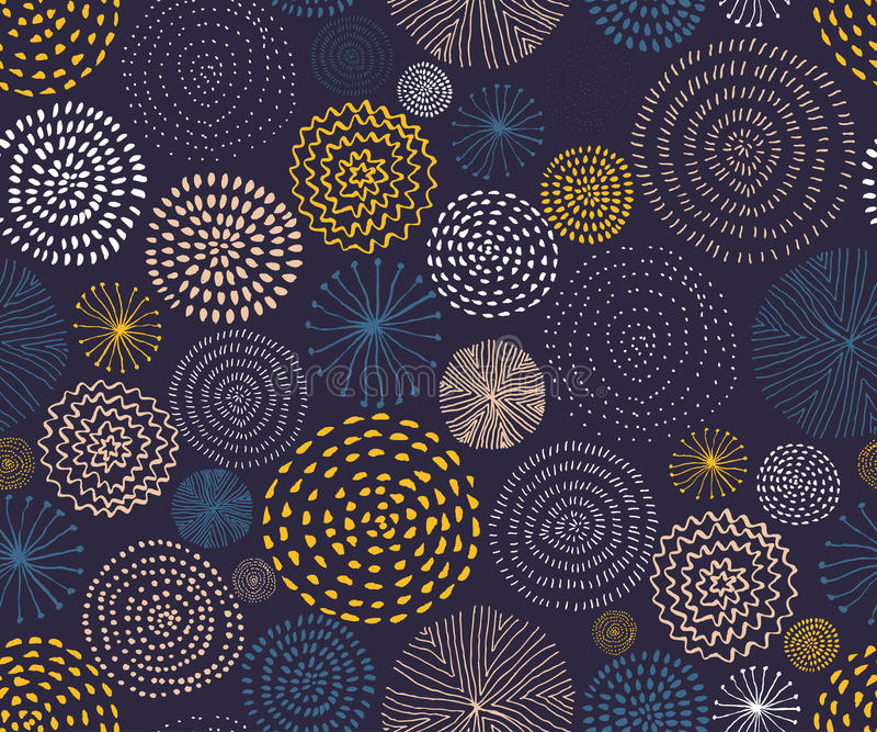 Vector seamless pattern with ink circle textures. Abstract seamless background with colorful fireworks. vector illustration