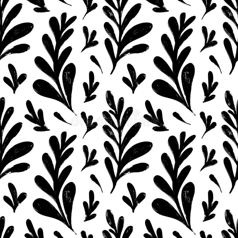 Vector seamless pattern with ink drawing herbs, spikelets, monochrome artistic botanical illustration, repeatable floral stock illustration
