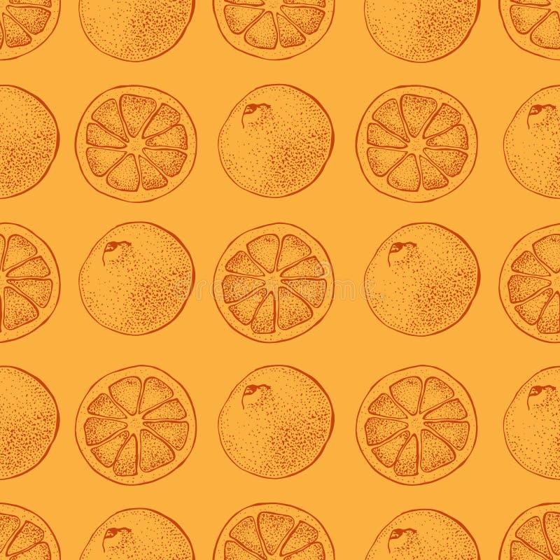 Vector seamless pattern with ink hand drawn citrus fruit, slices and leaves sketch. Mandarin orange, tangerine, lime on. Orange background. Detailed vegetarian royalty free illustration