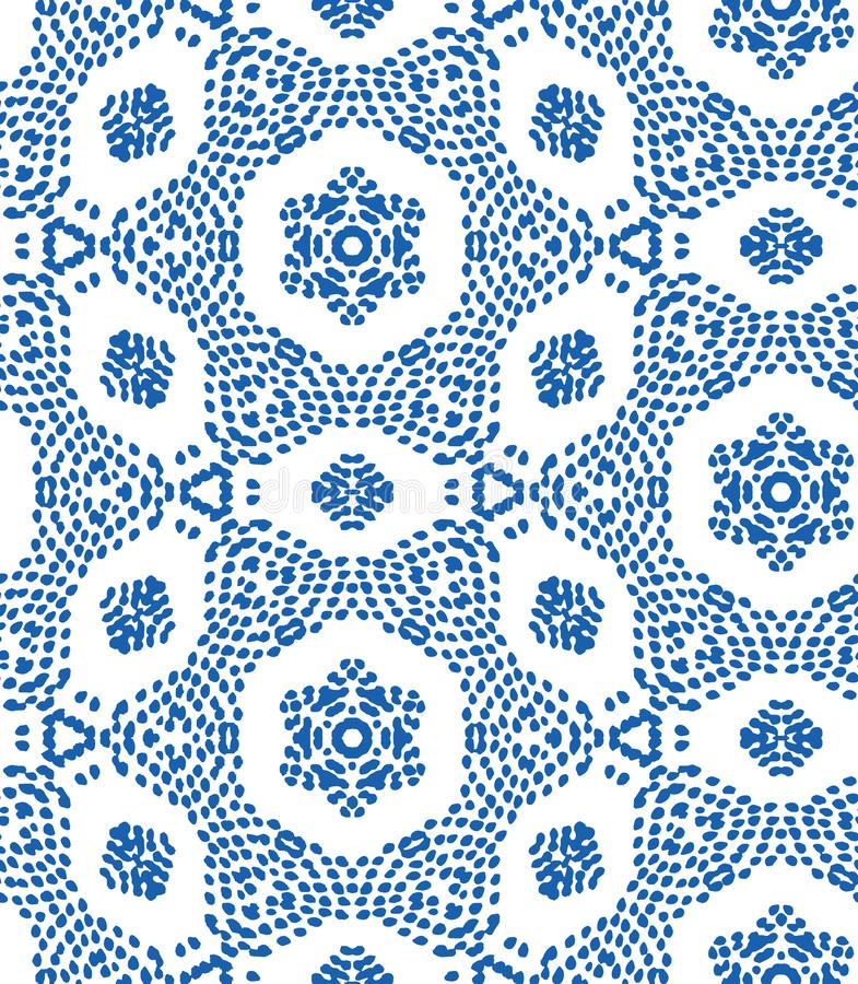 Vector seamless pattern with irregular dots texture in geometric layout. Ethnic blue and white doodle texture. Abstract royalty free illustration