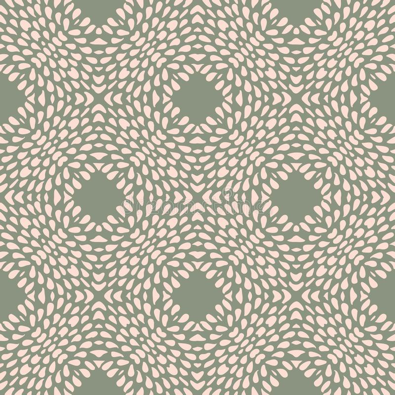 Vector seamless pattern with irregular dots texture in geometric layout. Ethnic pink and olive green doodle texture royalty free illustration