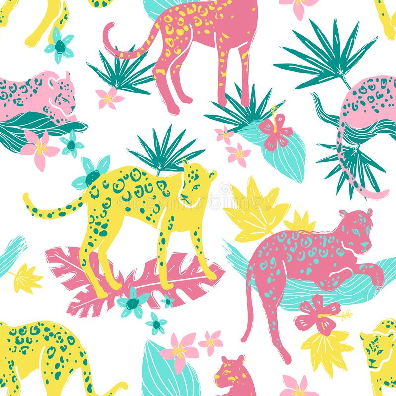 Vector seamless pattern with jaguars and jungle plants, leaves a stock illustration