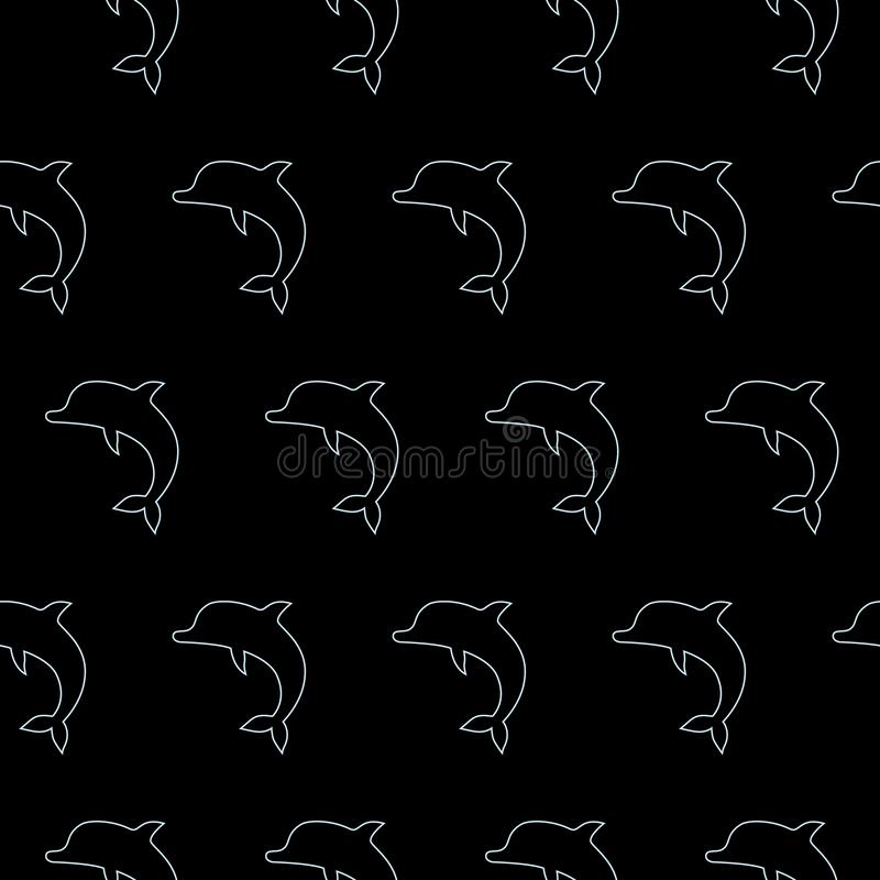 Vector seamless pattern with jumping dolphins black background stock illustration