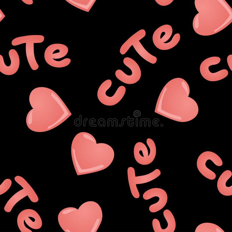Vector seamless pattern with kawai pink hearts and inscription Cute on a black background. vector illustration