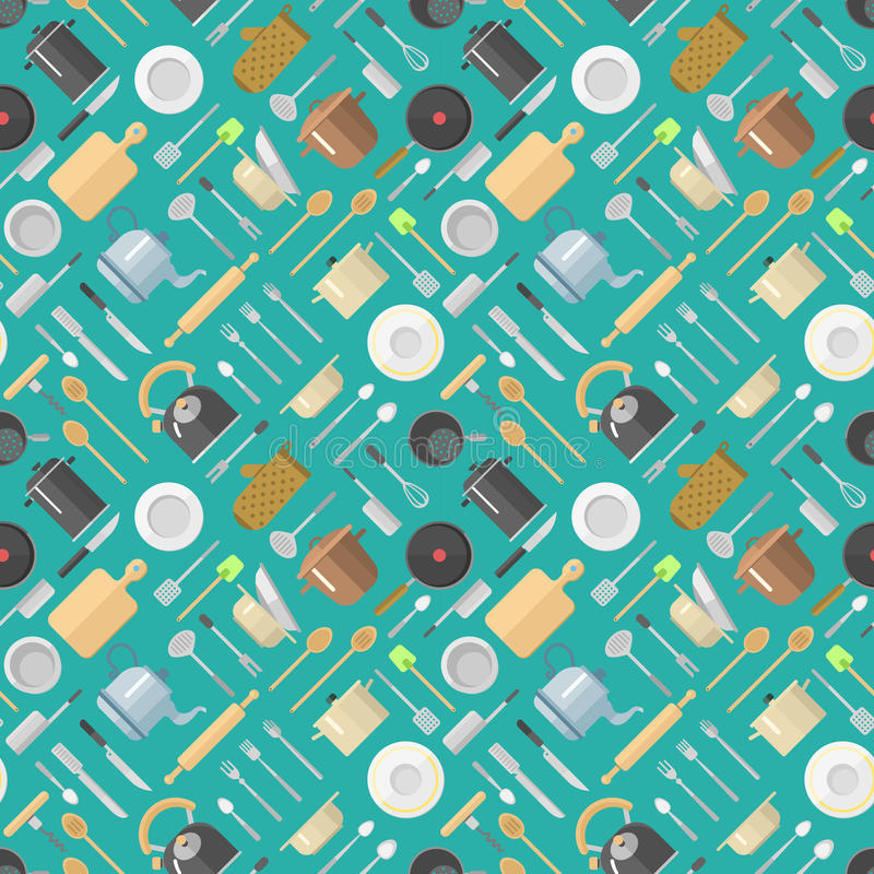 Vector seamless pattern with kitchenware pans jars grater dishes cup teapot kettle kitchen scale rolling pin spoon royalty free illustration