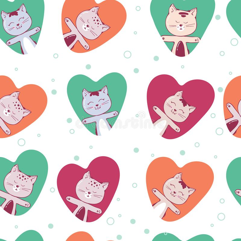 Vector seamless pattern with kitten. Funny background with animals for kids. Cute in love cat in heart. Romantic. White royalty free illustration