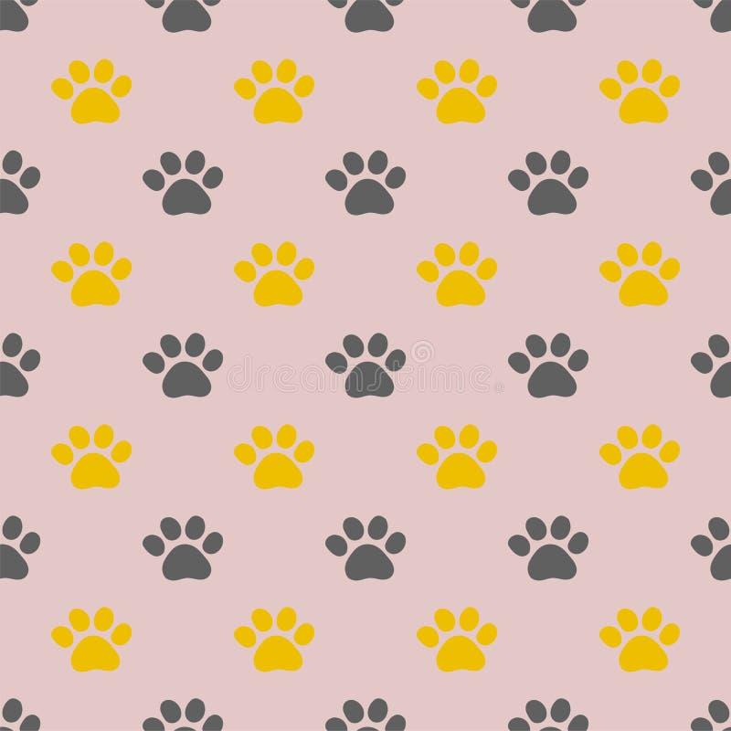 Vector seamless pattern with kitten paw`s footprints. stock illustration