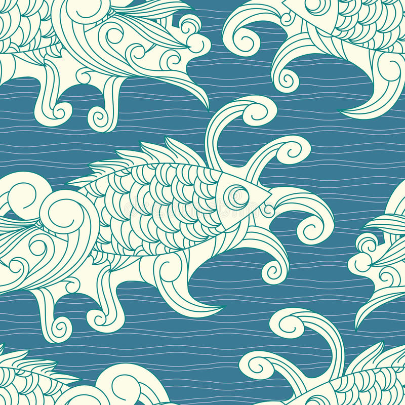Download Vector Seamless Pattern With Koi Carp Fishes Stock Vector - Image: 17927320
