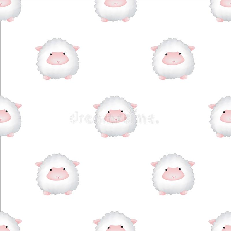 Vector seamless pattern with lambs. Cute animal backdrop for textiles and any other design for children. vector illustration
