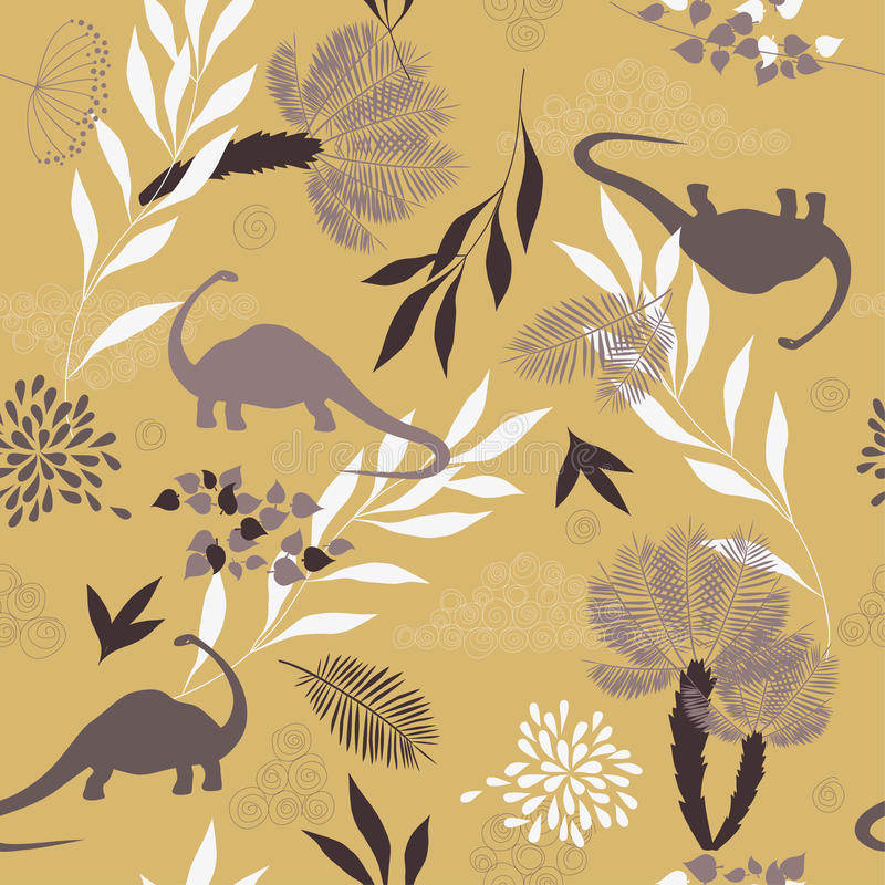 Vector Seamless Pattern with Leaves vector illustration