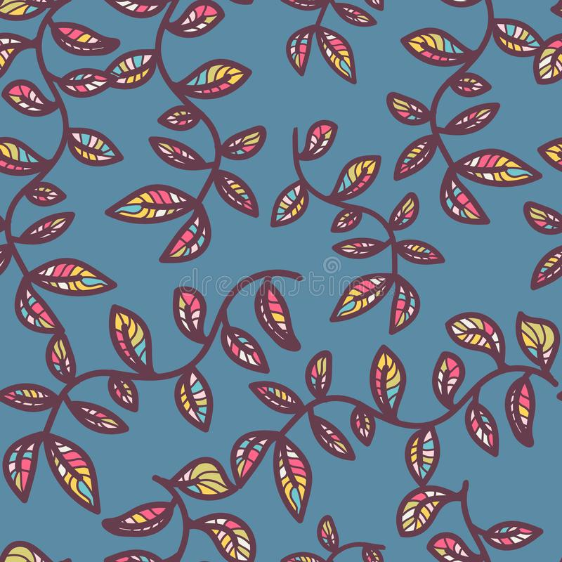 Vector seamless pattern on with leaves and branch. Abstract background with floral elements. Natural design. doodle blue stock illustration